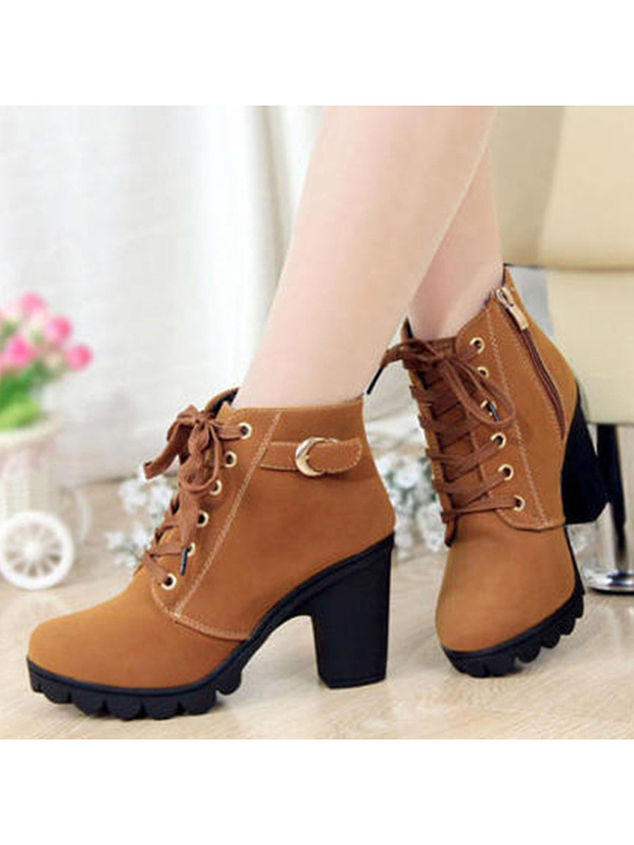 BerryLook Plain  Chunky  High Heeled  Velvet  Round Toe  Date Outdoor  Short High Heels Boots