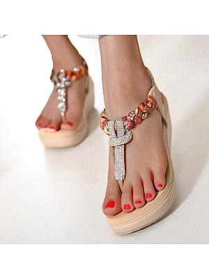 SOCOFY High Heeled  T Strap  Peep Toe  Beach Casual Sandals