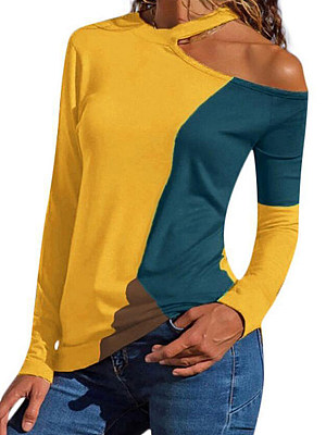Single Shoulder Collar Patchwork Casual Color Block Long Sleeve T-Shirts, 8063782