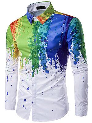 Fantastic Printed Men Turn Down Collar Shirts