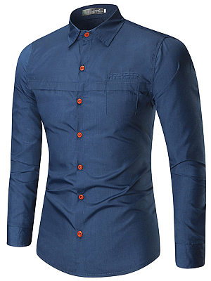 Turn Down Collar Solid Men Shirts