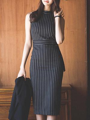 Open Shoulder Vertical Striped Bodycon Dress, 4825776