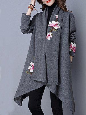 Embroidered Fashion Floral Coat