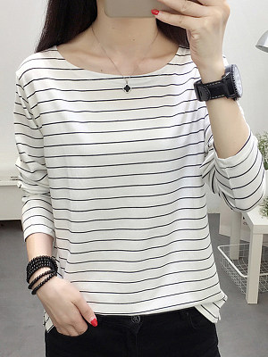 Round Neck Patchwork Brief Striped Long Sleeve T-Shirt, 9230649