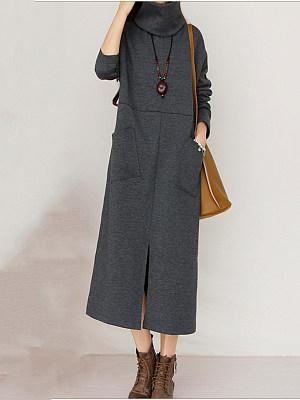 Round Neck Patch Pocket Slit Plain Scarf Maxi Dress