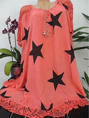 Round Neck  Patchwork  Star Shift Dress