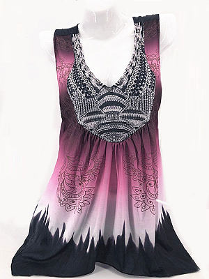 Summer Polyester Women V-Neck Patchwork Abstract Print Sleeveless T-Shirts, 4732861