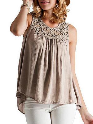 Summer Cotton Women Round Neck Decorative Lace Plain Sleeveless Blouses, 4603488