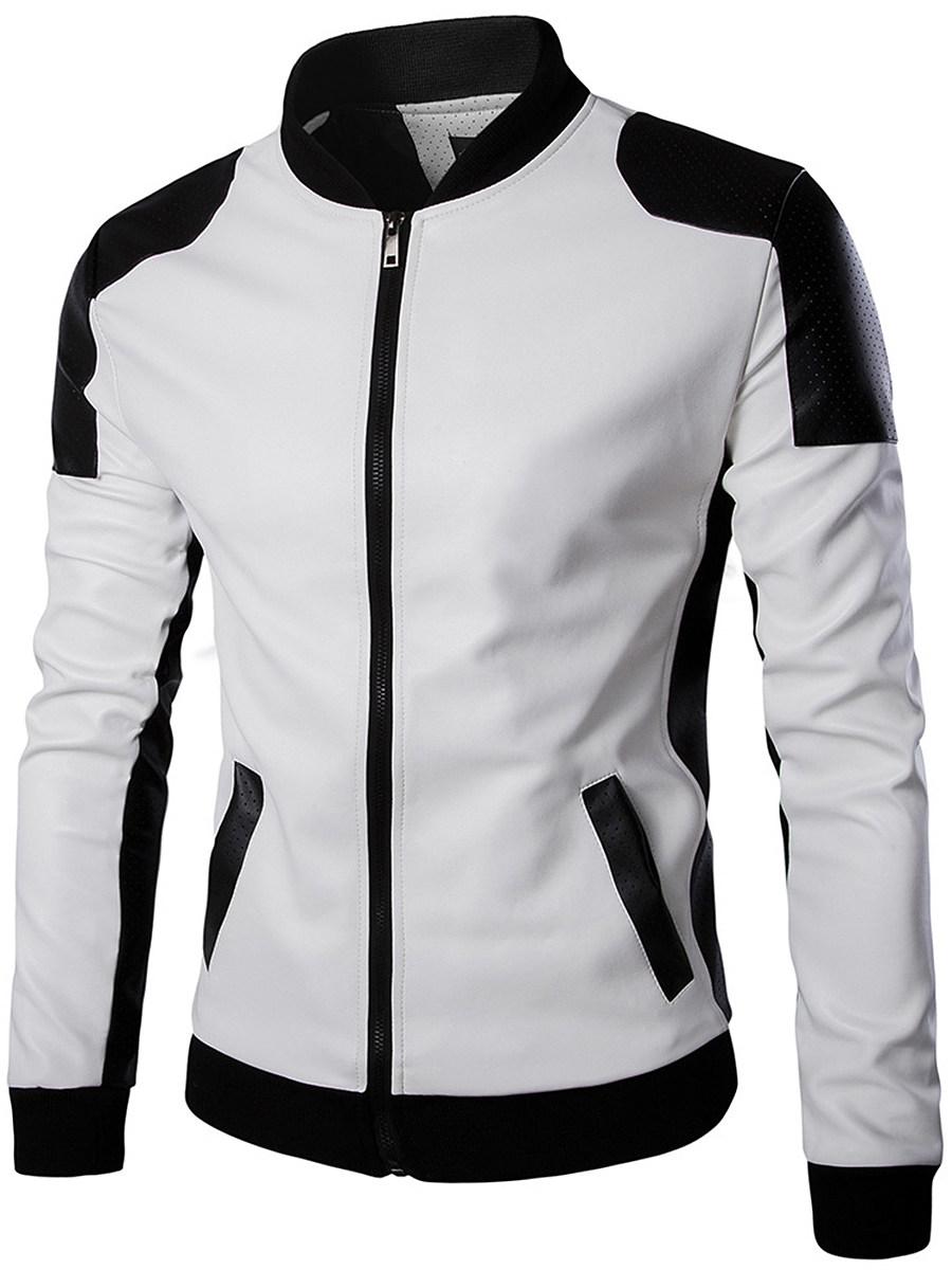 BerryLook Men Band Collar Color Block PU Leather Jacket