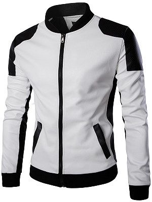 Men Band Collar Color Block PU Leather Jacket фото