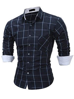 Plaid Long Sleeve Men Shirts