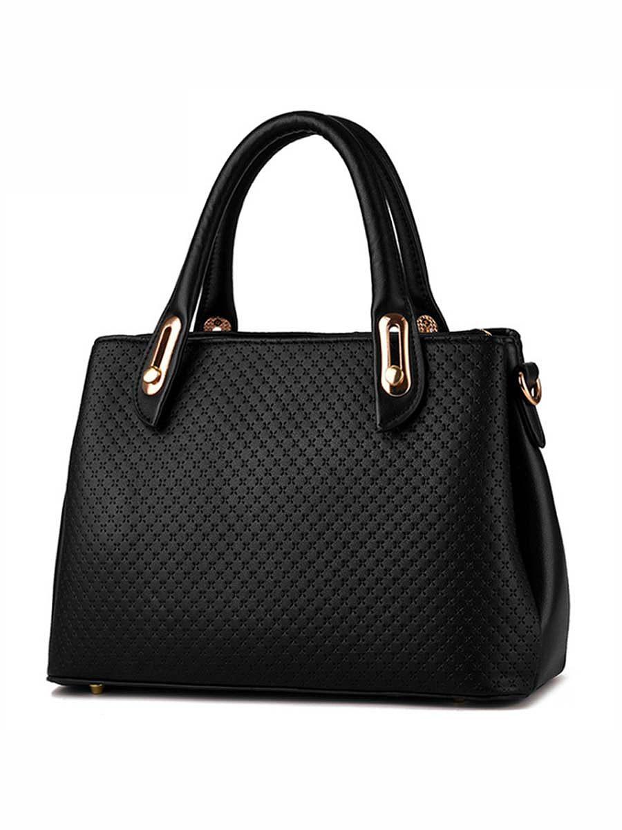 Cross Embossed Big Capacity Shoulder Bag