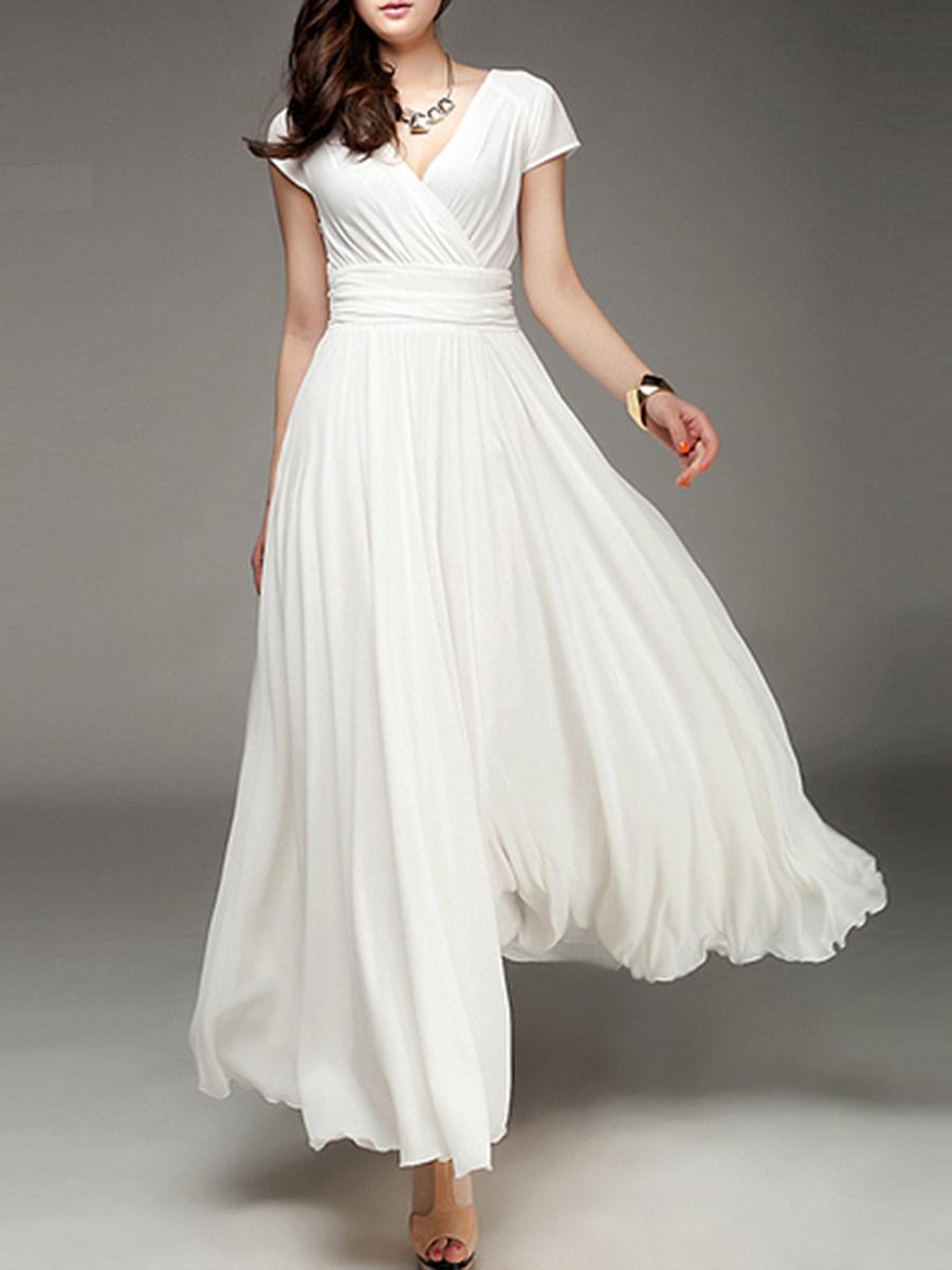 V-Neck Plain Maxi Dress