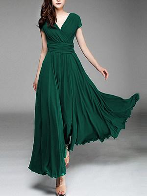 Berrylook V-Neck Plain Maxi Dress sale, clothing stores, long sleeve dress, floral maxi dress