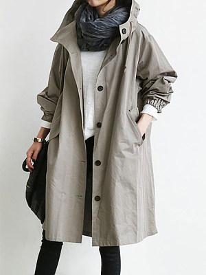 Berrylook coupon: Oversized Hooded Flap Pocket Plain Longline Coat