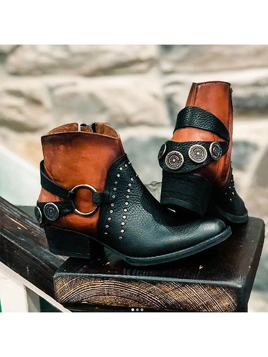 Colouring  Chunky  Round Toe Boots