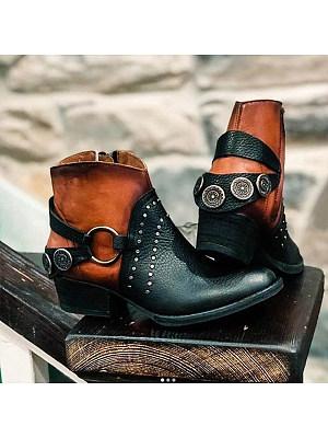 berrylook Women's fashion round toe Martin boots