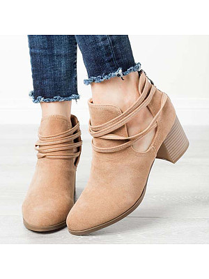 Plain Chunky High Heeled Velvet Round Toe Date Outdoor Ankle High Heels Boots, 6092837