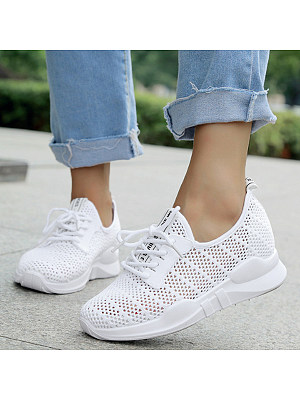Plain Flat Criss Cross Round Toe Casual Sport Sneakers, 6312984