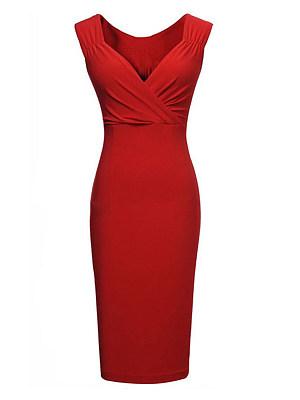 V Neck  Plain Bodycon Dress