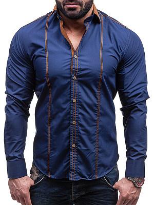 Turn Down Collar Contrast Stitching Men Shirts фото