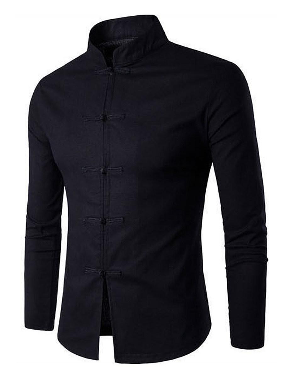 BerryLook Men Band Collar Plain Linen Shirts