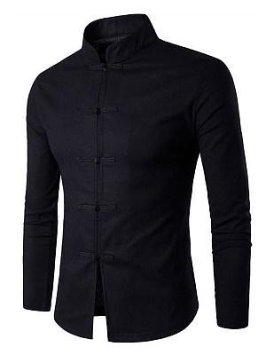 Men Band Collar Plain Linen Shirts