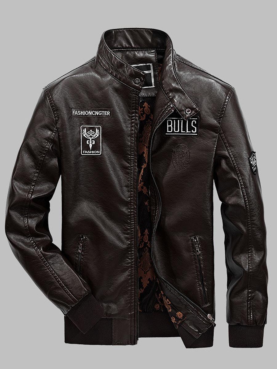Band Collar Printed PU Leather Men Biker Jacket