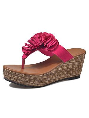 Floral Plain High Heeled Velvet Peep Toe Casual Date Slippers