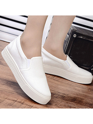 Plain Flat Round Toe Casual Sneakers, 4892169