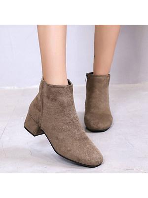 Plain Chunky Round Toe Boots, 8914865