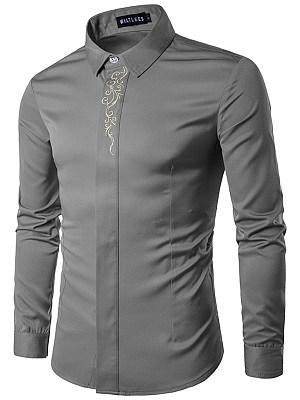 Refined Embroidery Men Shirts фото