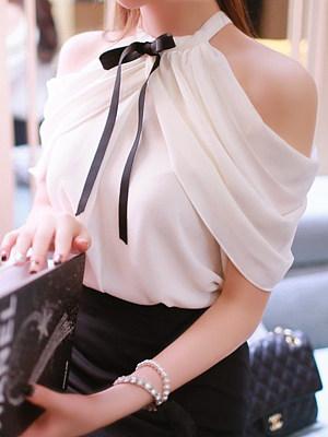 Open Shoulder  Bow  Plain Sleeveless T-Shirts