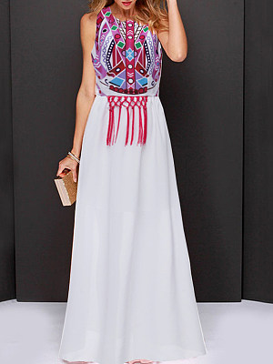 Round Neck Fringe Abstract Print Maxi Dress