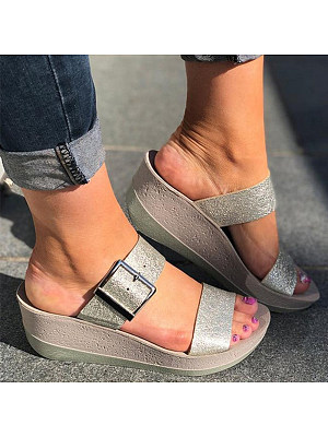 Plain Peep Toe Casual Wedge Sandals, 8072176