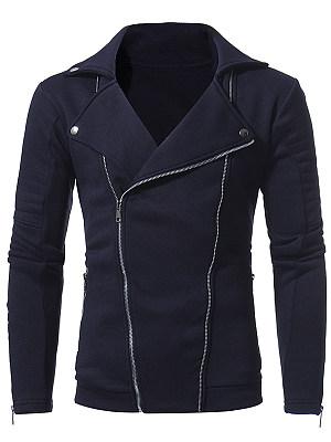 Lapel Zips Pocket Plain Men Coat
