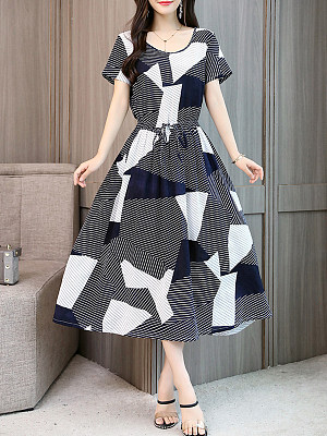Round Neck Drawstring Printed Maxi Dress, 6837025