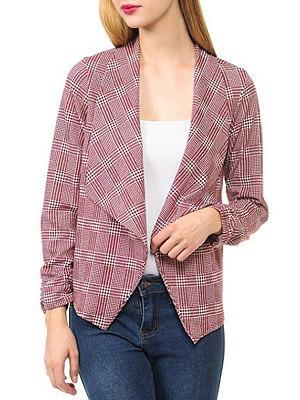 Lapel  Checkered Blazer