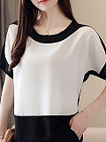 Image of Round Neck Patchwork Color Block Blouses