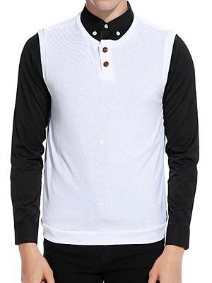 Men Plain Henley Collar Sleeveless Knitwear