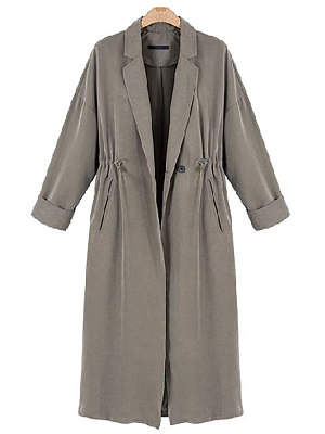 Notch Lapel Drawstring Plain Trench Coat, 6377649