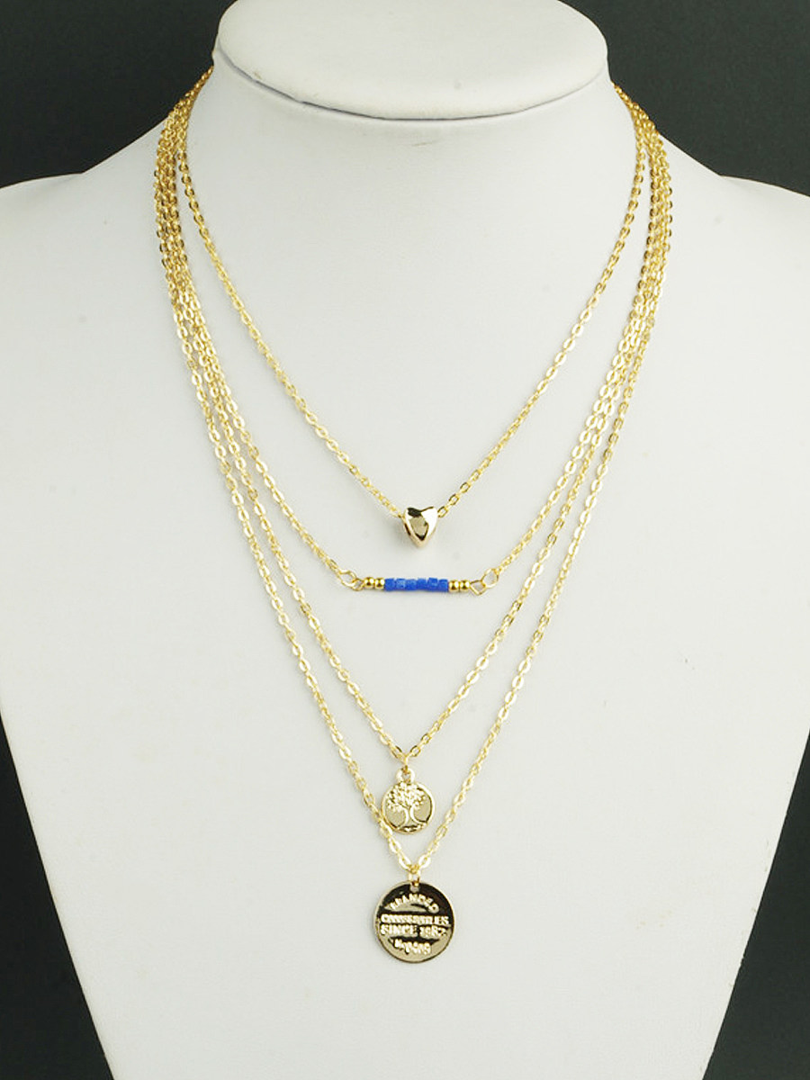 Gold Pendant Boho Layers Chain Necklace