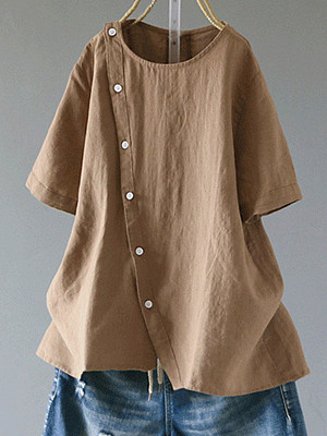 Round Neck Loose Fitting Single Breasted Plain Blouses, 6780570