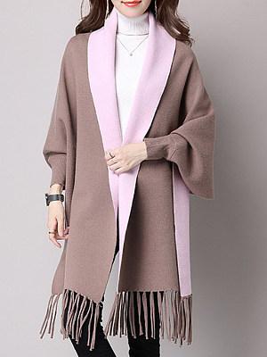 Fringe  Color Block  Long Sleeve Coats