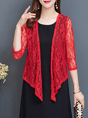 Patchwork Elegant Lace Three-Quarter Sleeve Cardigans, 8265184