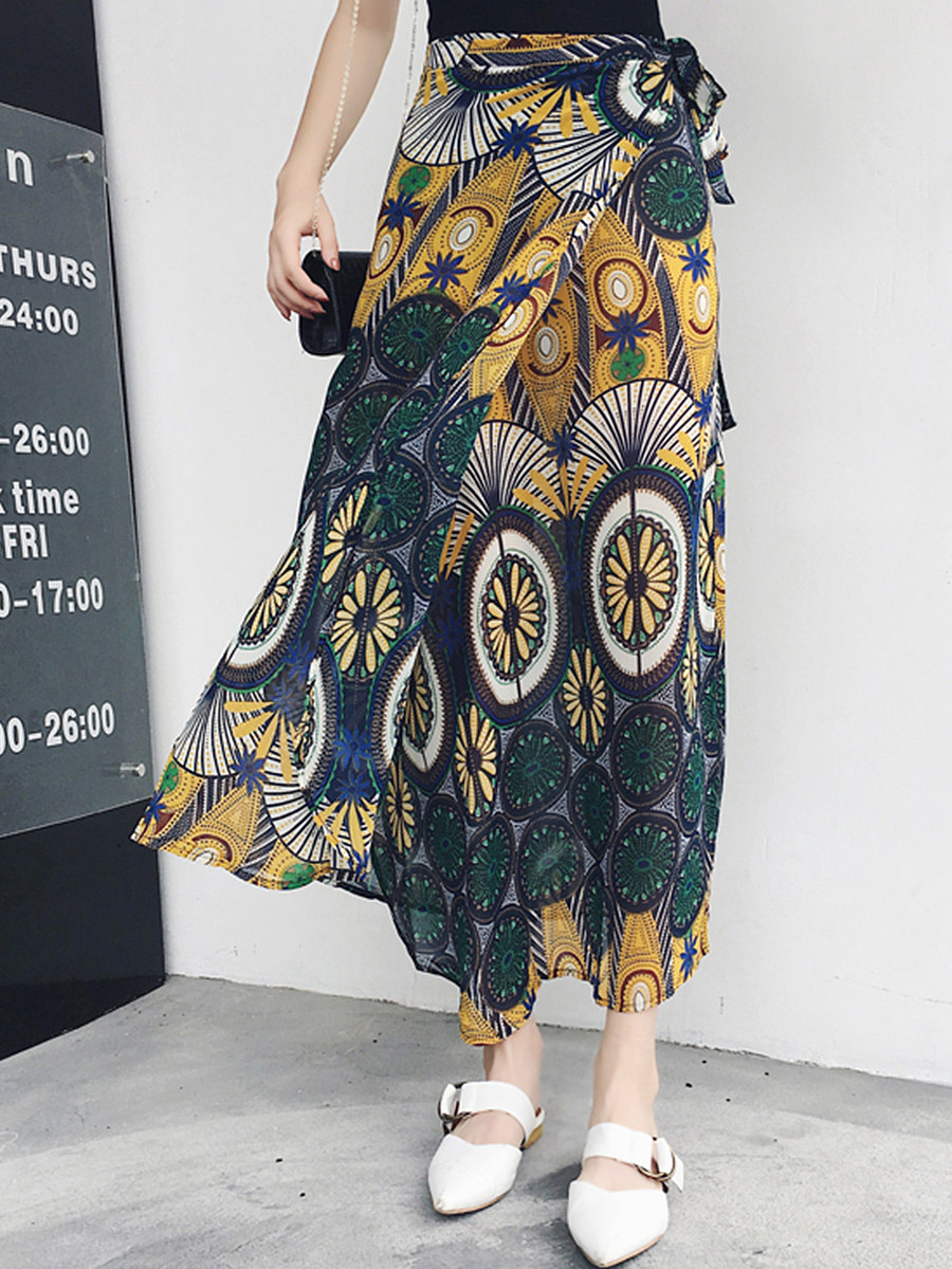 Printed  Flared Chiffon Tie Maxi Skirt