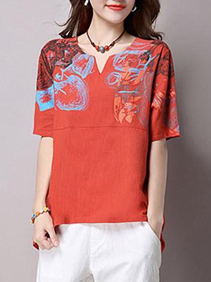 Split Neck Abstract Print Short Sleeve T-Shirt, 3728392