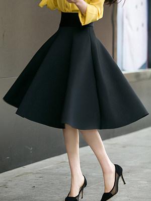 Black Swing Midi Skirt