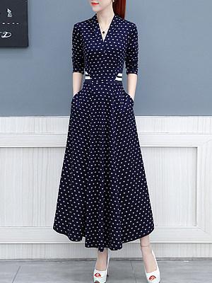 V-Neck Printed Maxi Dress