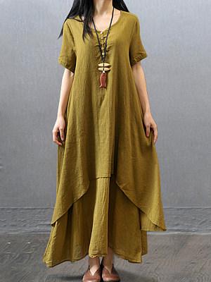 Round Neck Asymmetric Hem Plain Maxi Dress, 6881457